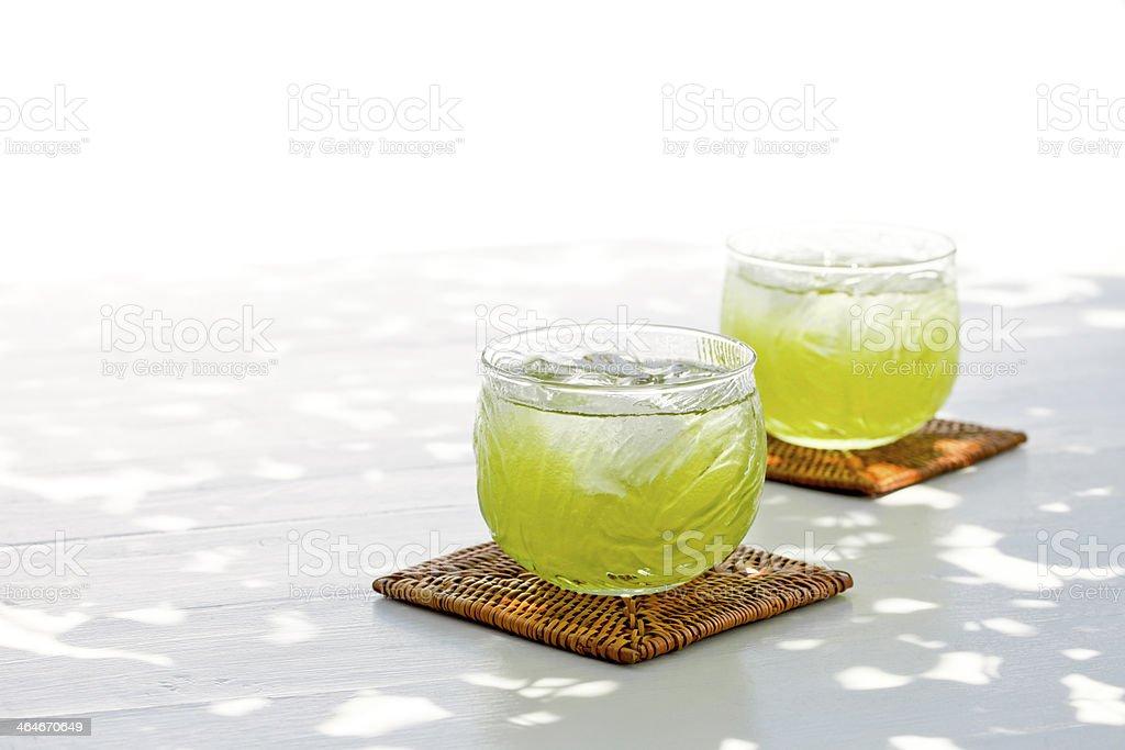 Cold green tea stock photo
