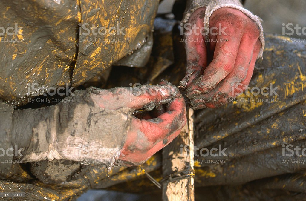 Cold Hands Working royalty-free stock photo