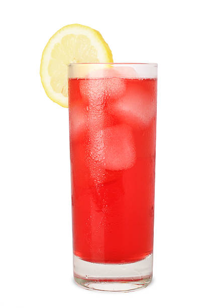 Cold Juice with Lemon (Isolated on White) stock photo