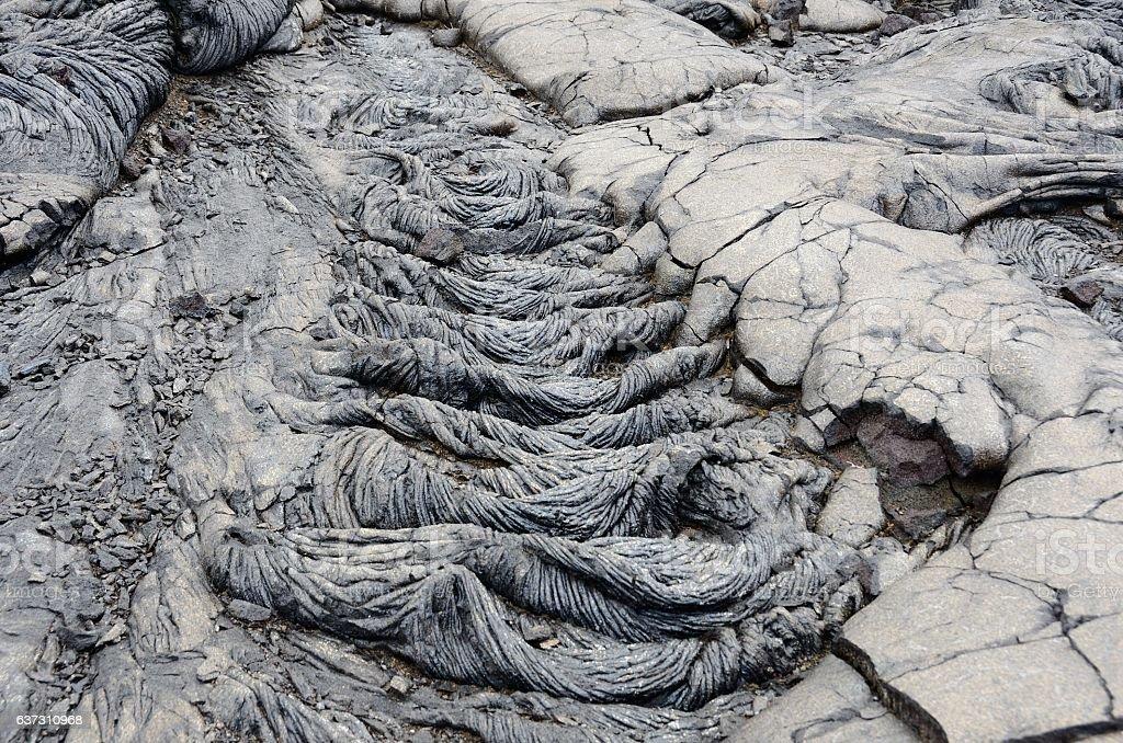 Cold lava flow in Big Island, Hawaii stock photo