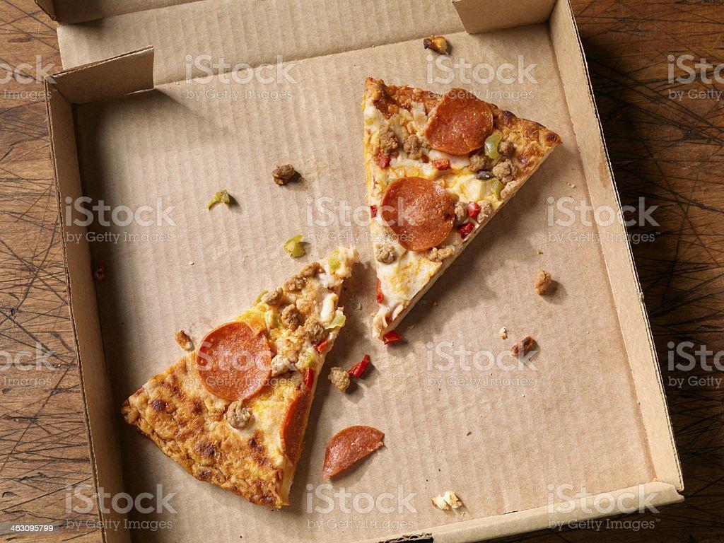 Cold, Leftover Pizza stock photo