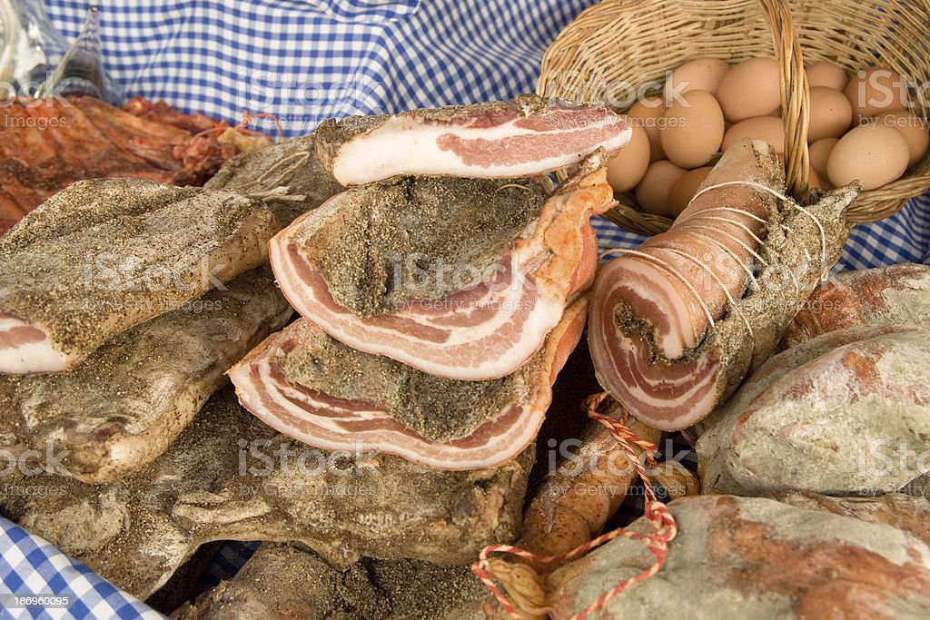 Cold meat and eggs royalty-free stock photo