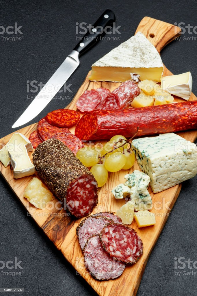 Cold meat cheese plate with salami sausage and cheese royalty-free stock photo & Cold Meat Cheese Plate With Salami Sausage And Cheese Stock Photo ...
