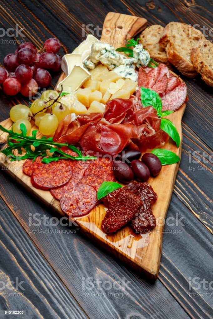 Cold meat cheese plate with salami sausage prosciutto and cheese royalty-free stock photo & Cold Meat Cheese Plate With Salami Sausage Prosciutto And Cheese ...