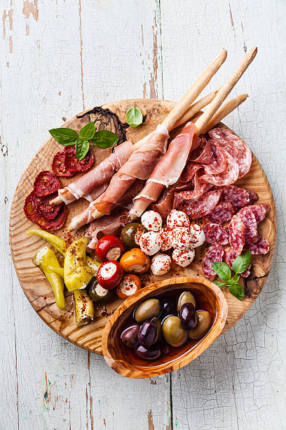 Cold meat plate stock photo