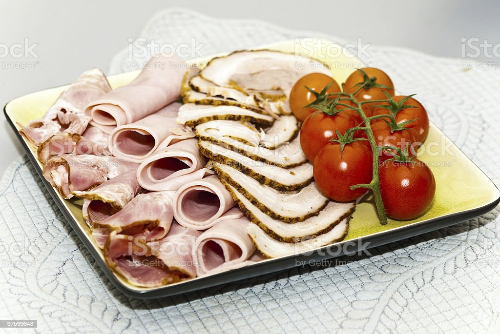 cold meat with tomatoes royalty-free stock photo