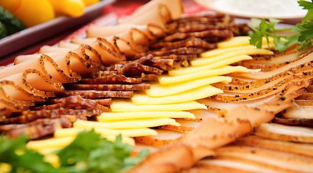 Cold meats with cheese stock photo