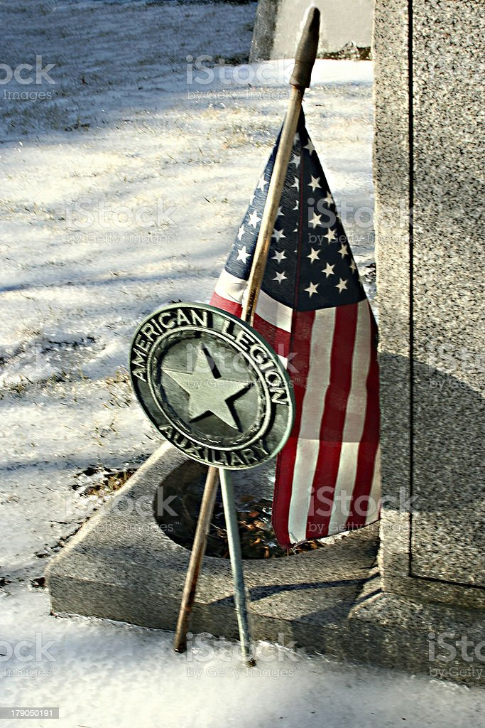 Cold memorial to a veteran stock photo