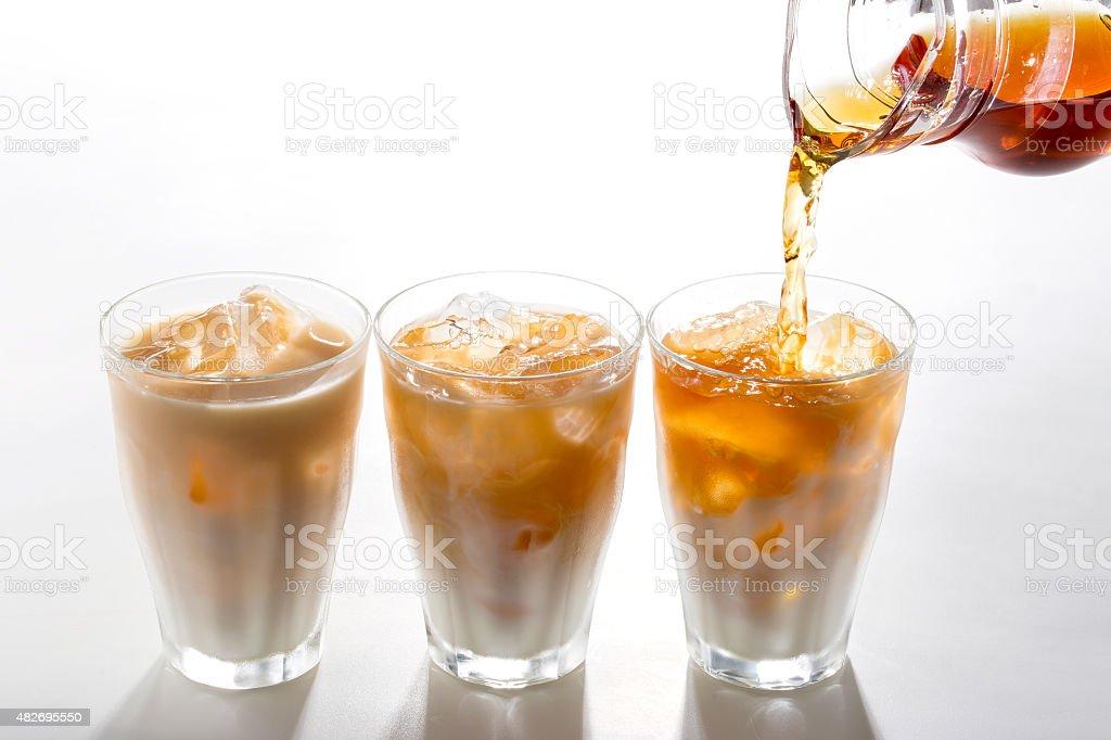 Cold milk tea stock photo