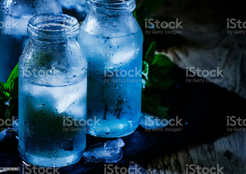 cold mineral water with ice stock photo