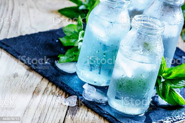 Photo of cold mineral water with ice