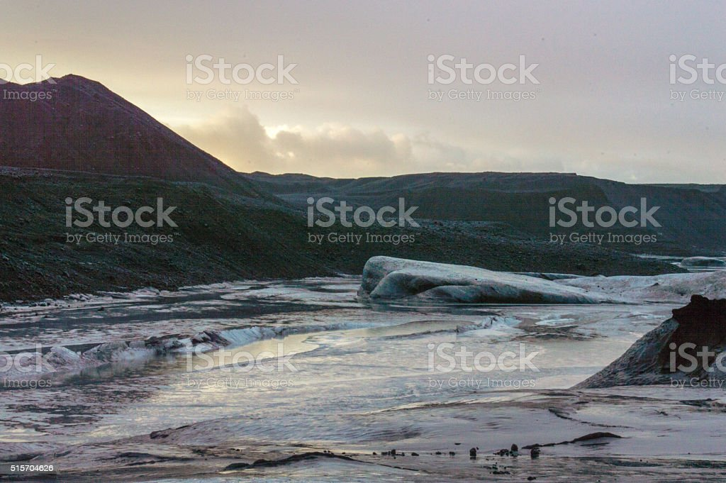 Cold morning at the Langjokull Glacier, Iceland stock photo