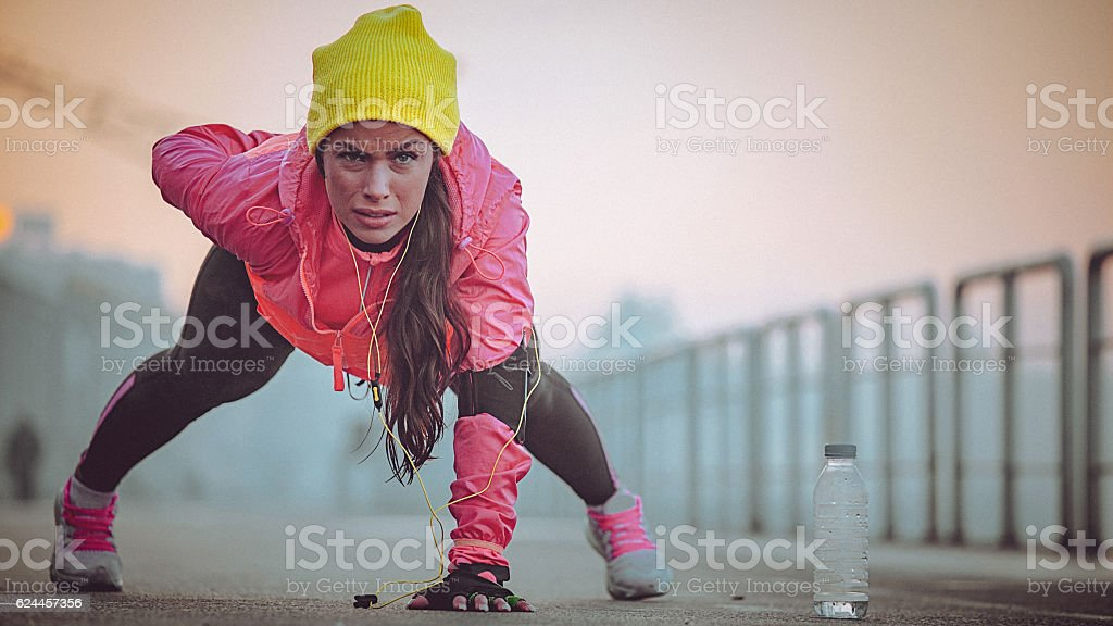 Cold morning workout stock photo