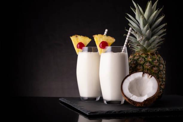 Cold Pina Colada cocktails stock photo