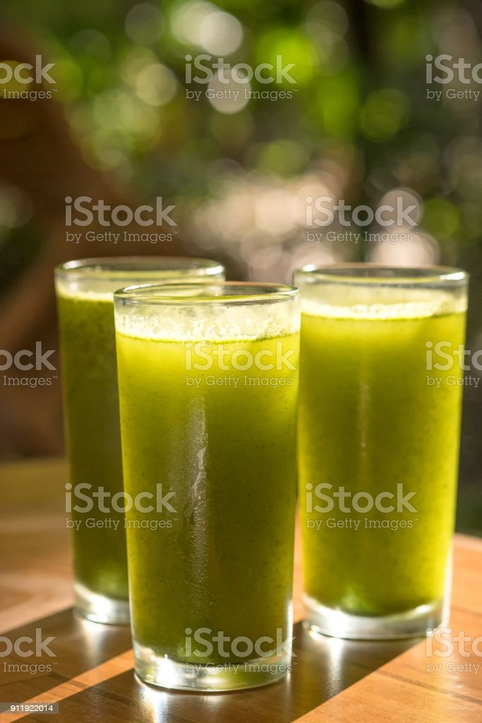 Cold Pressed Green Juice, Wellness Centre, Health Spa Cafe, Mexico stock photo
