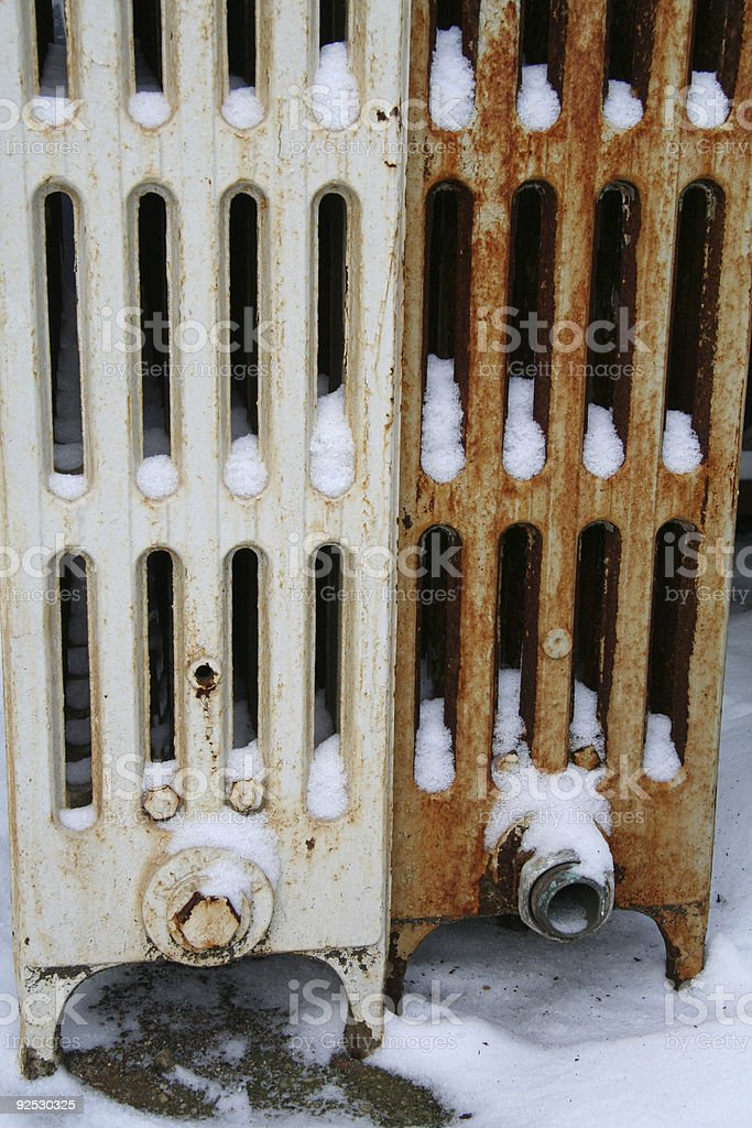 Cold Radiators in the Winter stock photo