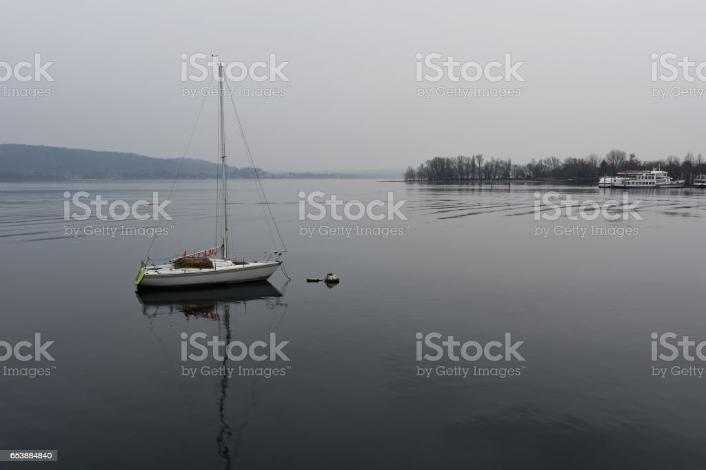 Cold rainy morning by Lago Maggiore, Italy stock photo