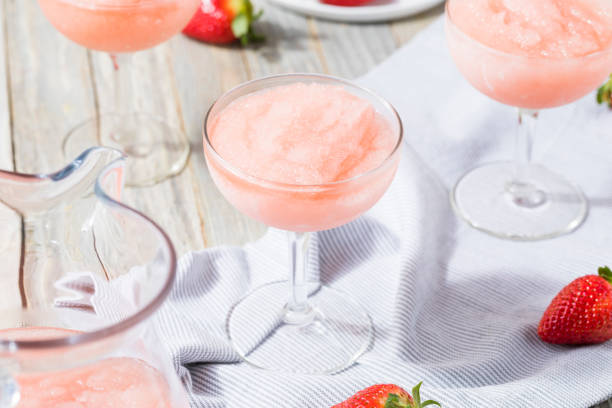 Cold Refreshing Frozen Rosé Wine Cocktail stock photo