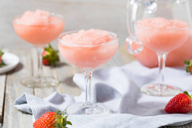 cold refreshing frozen rosé wine cocktail - frozen stock photos and pictures
