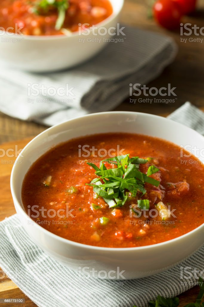 Cold Refreshing Gazpacho Soup stock photo