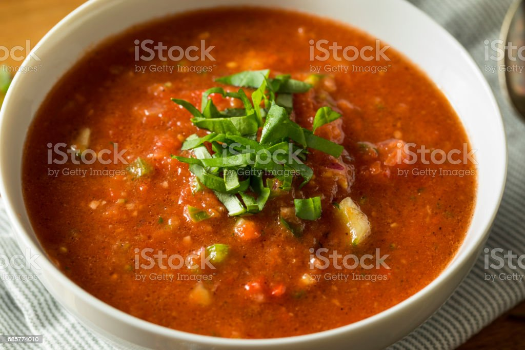 Cold Refreshing Gazpacho Soup royalty-free stock photo