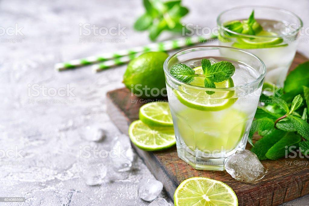 Cold refreshing summer lemonade mojito. stock photo
