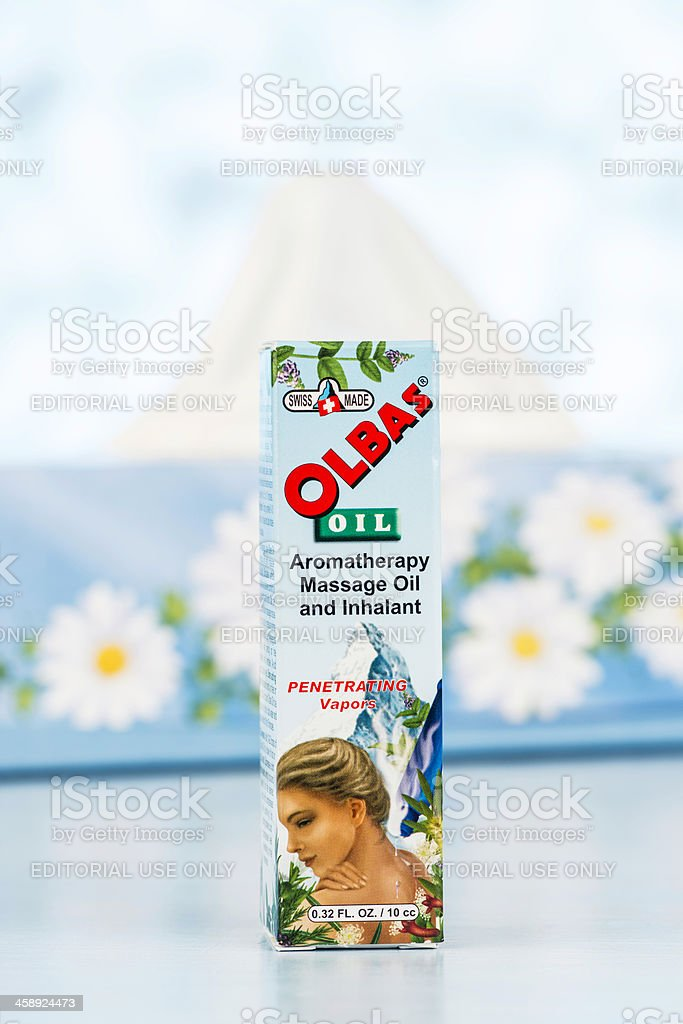 Cold Relief: Olbas Oil and Tissues royalty-free stock photo