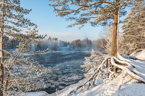 Cold river stock photo