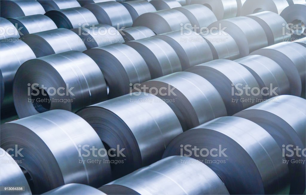 Cold rolled steel coil at storage area in steel industry plant. stock photo