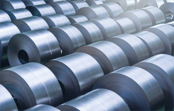 cold rolled steel coil at storage area in steel industry plant. - steel stock photos and pictures