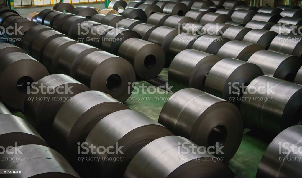 Cold rolled steel coil at storage area – Foto