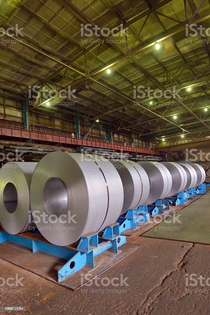 Cold rolled steel coils stock photo