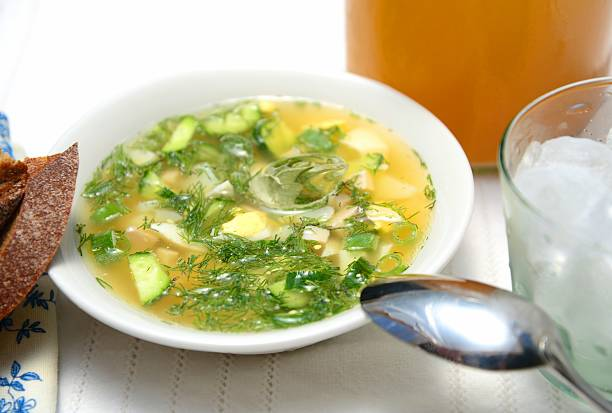 Cold Russian soup Okróshka with ice and kvass. stock photo
