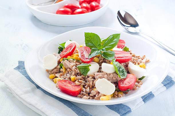 kalter salat von farro mit mozzarella, tomaten und thunfisch - artischocken gesund stock-fotos und bilder