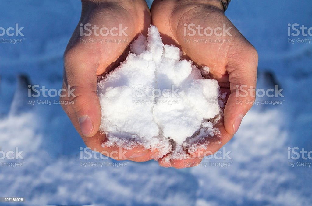 Cold snow in hand hold. Cold snow in hand stock photo
