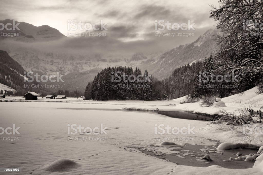 Cold, Snowy Morning in the Swiss Alps stock photo
