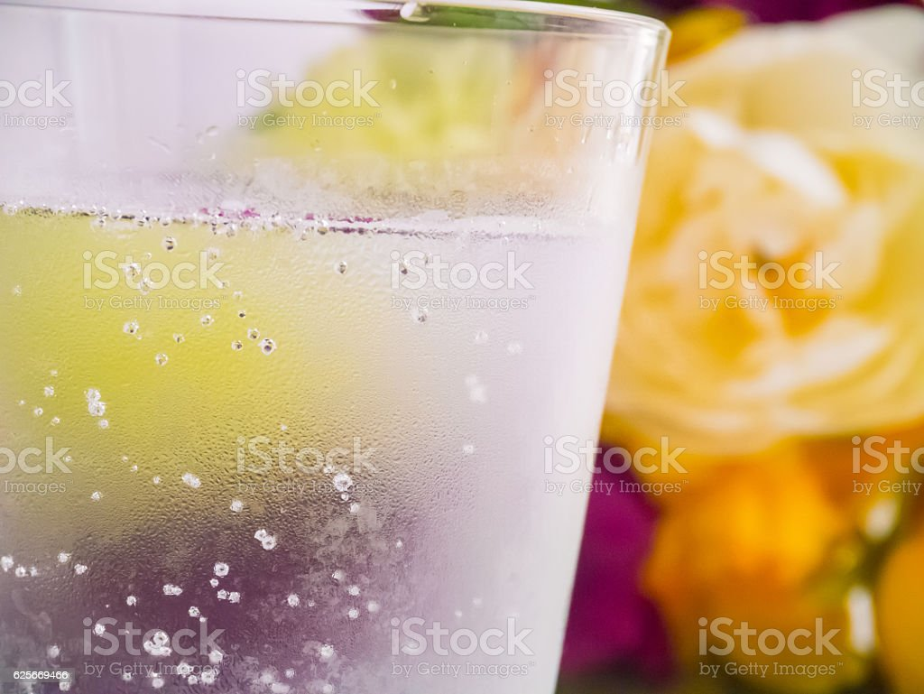 Cold Sparkling Water With Coaster Stock Photo - Download