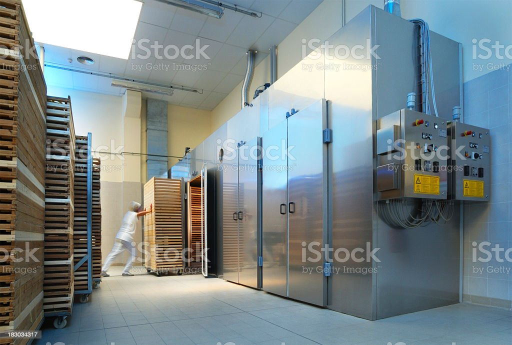 Cold store of an italian pasta production industry royalty-free stock photo