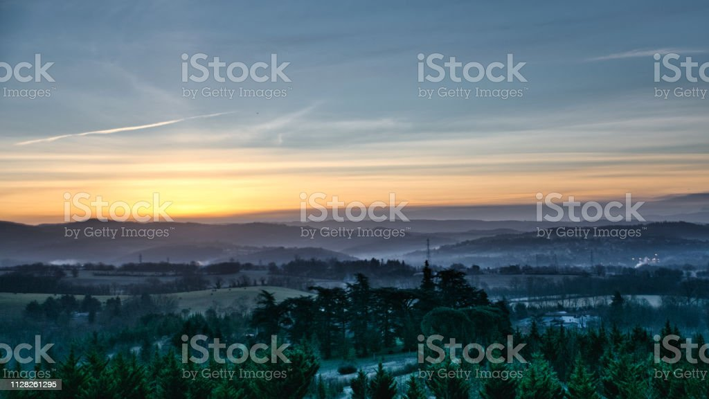 Cold sunrise stock photo