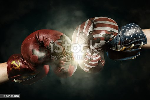 istock Cold War between USA and Russia symbolized with Boxing Gloves 629294430