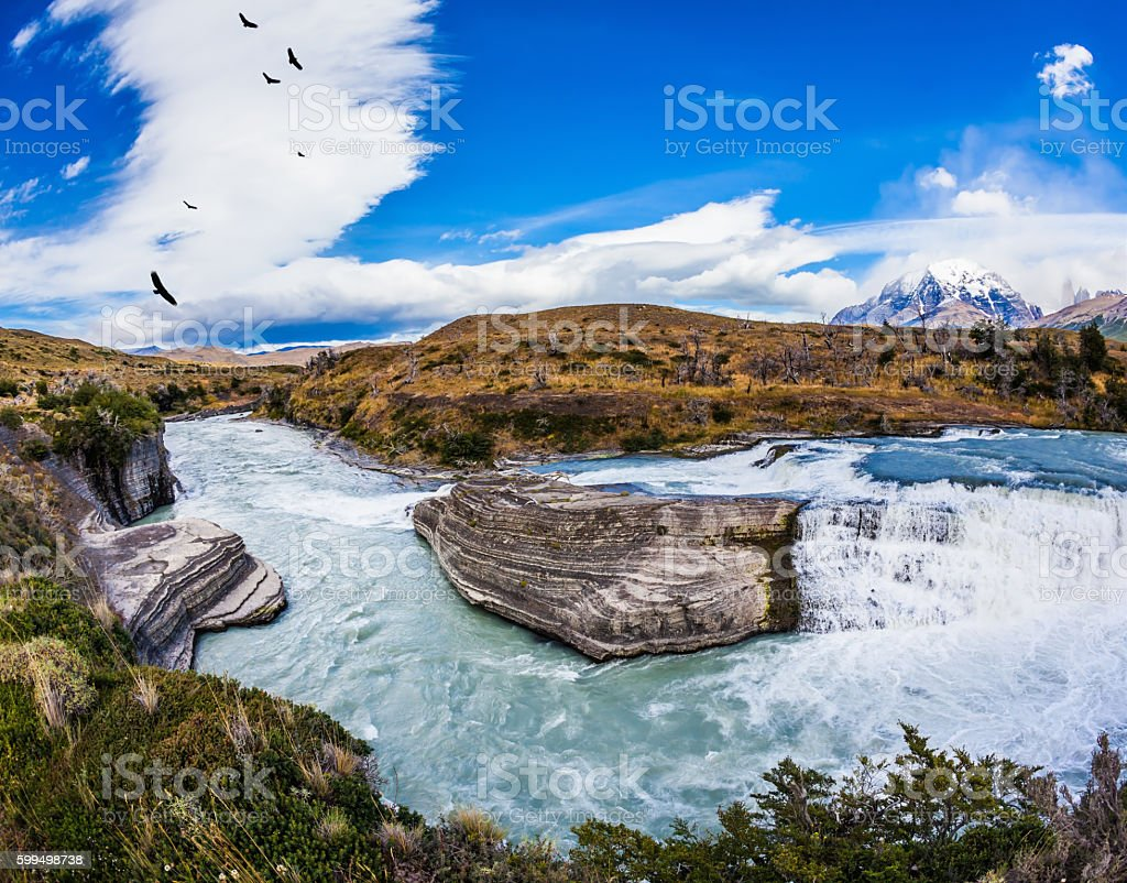 Cold water is emerald Paine river stock photo