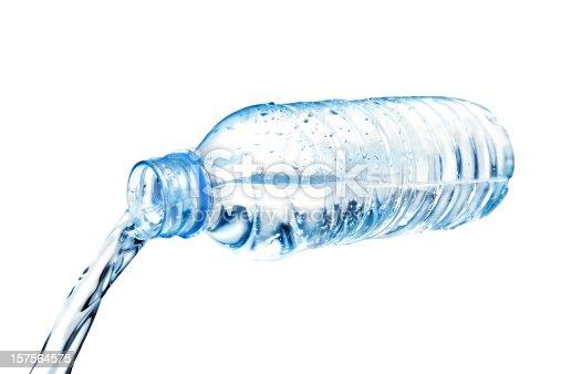 bottled water flowing.