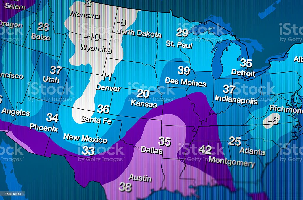 Cold Weather Forecast Map stock photo