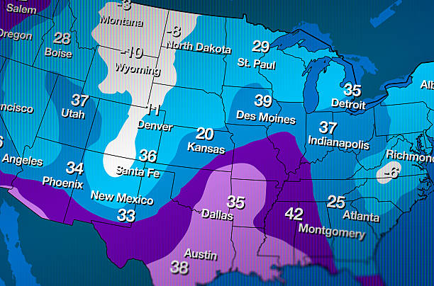 cold weather forecast map - weather stock photos and pictures