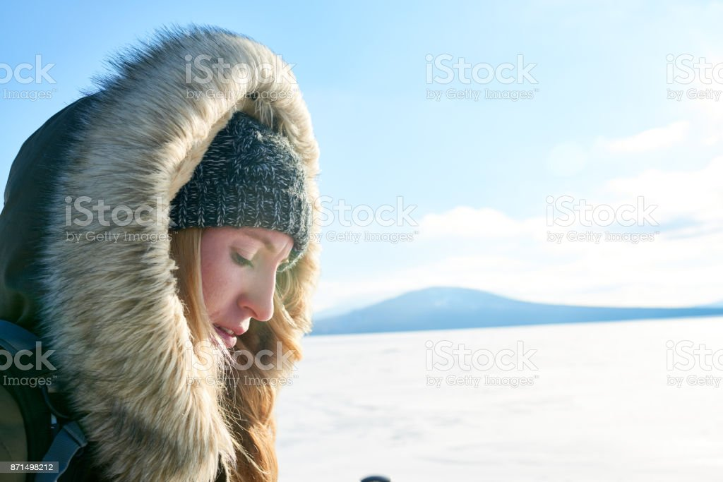 Cold weather not impediment to hike in mountains stock photo