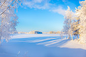 Cold winter day landscape from Sotkamo, Finland.