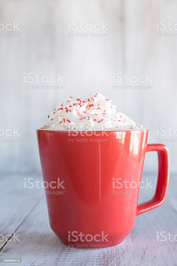 Cold Winter Hot Chocolate Drink With Whipped Cream stock photo