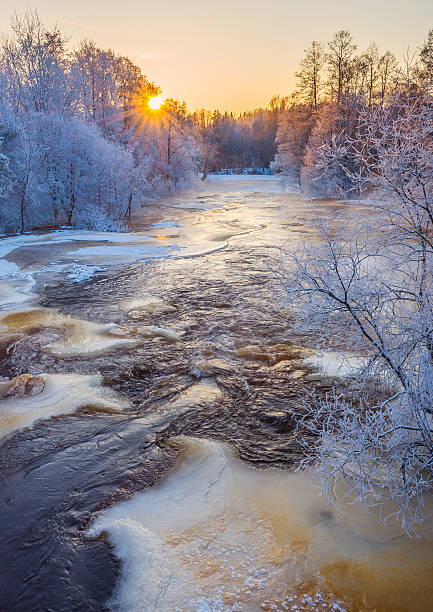 Cold winter river stock photo