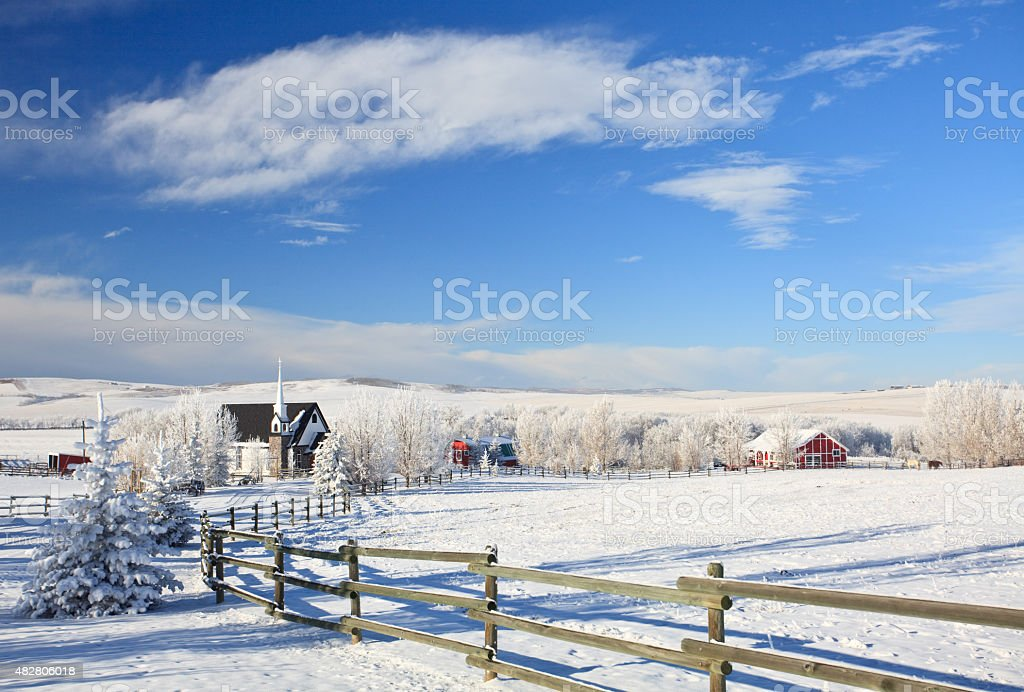 Cold Winter Scene on the Great Plains stock photo