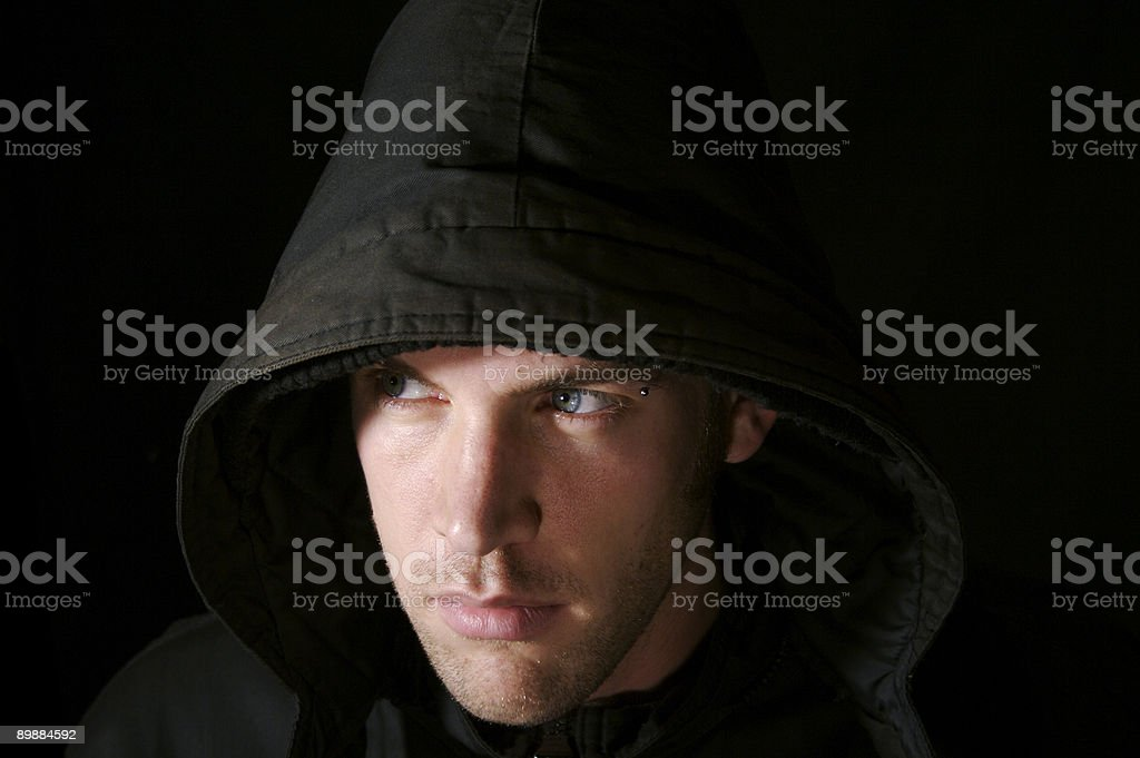 Cold young man in black royalty-free stock photo